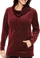 Made For Life Velour Metallic-Striped Cowlneck Tunic - Tall
