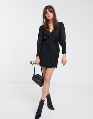 And other stories & plisse mini wrap dress in black