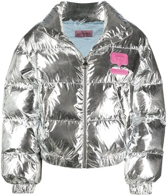 Chiara Ferragni Cropped Metallic Effect Puffer Jacket