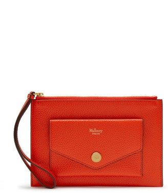 Mulberry Pouch with Wristlet Coral Orange Small Classic Grain