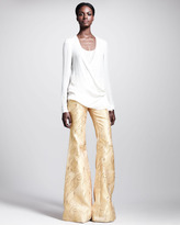 Wes Gordon Filigree-Brocade Bellbottom Pants