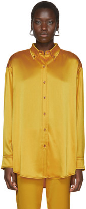 Sies Marjan Yellow Crinkled Satin Kiki Oversized Shirt