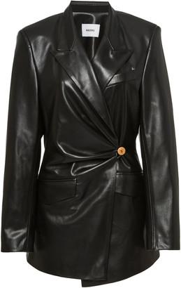 Nanushka Blair Ruched Leather Blazer