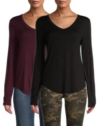 No Boundaries Juniors' Long Sleeve V-Neck T-Shirt, 2-Pack