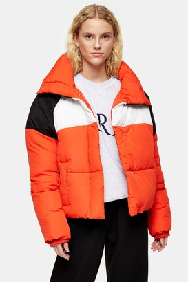 Topshop Womens Tall Red Puffer Jacket - Red