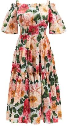 Dolce & Gabbana Off-the-shoulder Camelia-print Cotton Dress - Pink Multi