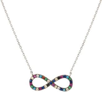 Latelita Infinity Eternity Multi Coloured Necklace Silver