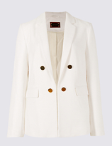 Per Una Cotton Blend Textured Button Detail Blazer