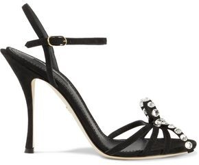 Dolce & Gabbana Kiera Bow-embellished Suede Sandals