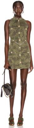 Balmain Short Sleeve Camouflage Denim Dress in Khaki   FWRD