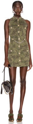 Balmain Short Sleeve Camouflage Denim Dress in Khaki | FWRD