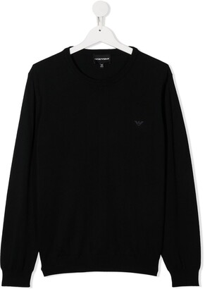 Emporio Armani Kids TEEN logo embroidered jumper