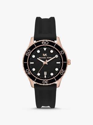 Michael Kors Oversized Runway Dive Rose Gold-Tone and Silicone Watch