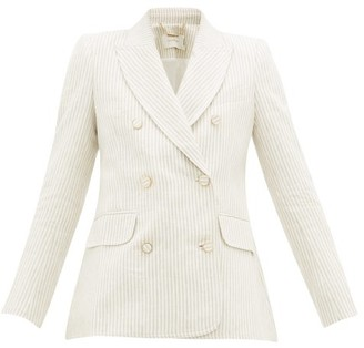 Zimmermann Super Eight Double-breasted Striped Linen Blazer - Beige Stripe