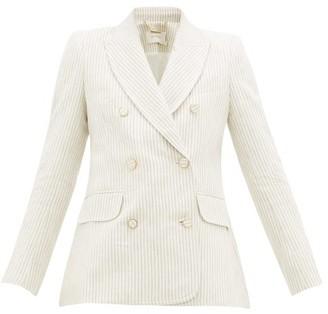 Zimmermann Super Eight Double-breasted Striped Linen Blazer - Womens - Beige Stripe