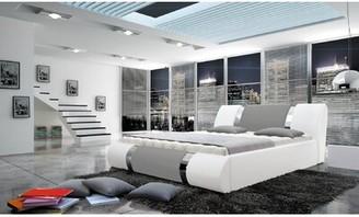 Orren Ellis Jeterson King Upholstered Storage Platform Bed Color: White & Gray