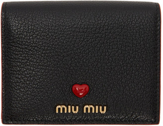 Miu Miu Black and Red Leather Love Wallet