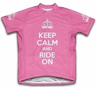 Scudo Sports Wear Scudo Keep Calm and Ride On Microfiber Short-Sleeved Ladies' Cycling Jersey, Pink, M