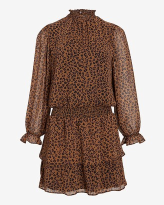 Express Leopard Smocked Waist Ruffle Mock Neck Dress
