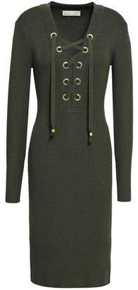 MICHAEL Michael Kors Lace-up Ribbed-knit Mini Dress