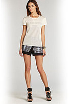 BCBGMAXAZRIA Hudson Perforated Faux-Leather Tee