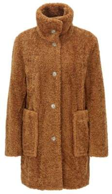 BOSS Regular-fit teddy coat with stand collar