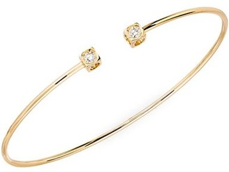 Dinh Van Le Cube 18K Yellow Gold & Diamond Open Bangle Bracelet
