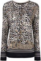 Roberto Cavalli long sleeved leopard T-shirt - women - Cupro - 42