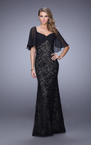 La Femme 21639 Sheer Draped Lace Evening Gown