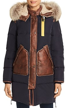 Parajumpers Long Bear Shearling Trim Down Coat