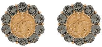 Dolce & Gabbana Crystal-Embellished Engraved Cufflinks