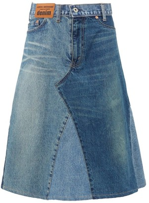 Junya Watanabe Patchwork Denim Midi Skirt - Womens - Indigo