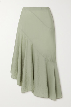 Vince Asymmetric Woven Midi Skirt - Green