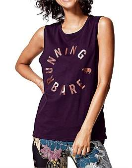 Running Bare Easy Rider Crew Neck Muscle Tank W/Hem Splits
