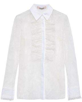 Roberto Cavalli Ruffled Embroidered Cotton-blend Tulle Blouse