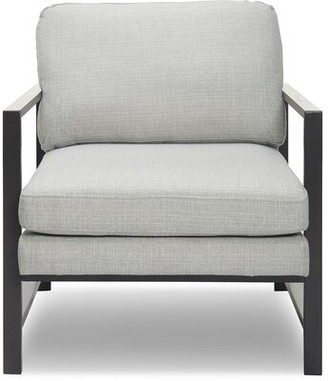 Tommy Hilfiger Russell Metal Frame Armchair Upholstery Color: Light Gray, Leg Color: Gray