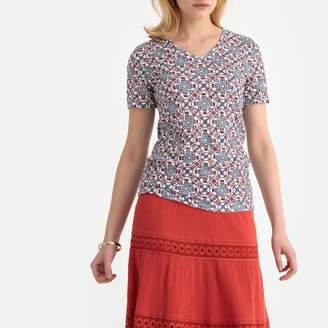 Anne Weyburn Crinkled Jersey Tile Print T-Shirt