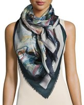 Burberry Henry Moore Abstract Figures Square Voile Scarf, Blue/Multicolor