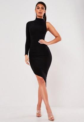 Missguided Black Slinky One Sleeve Midi Dress