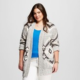 Mossimo Women's Plus Size Patterned Open Cardigan Gray Print