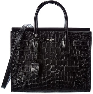 Saint Laurent Classic Sac De Jour Croc-Embossed Leather Tote