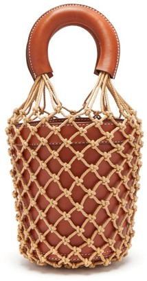STAUD Moreau Macrame And Leather Bucket Bag - Womens - Brown