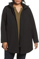 Kristen Blake Plus Size Women's Stand Collar Raincoat With Detachable Hood