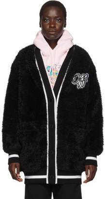 Off-White Off White Black Faux-Fur College Cardigan