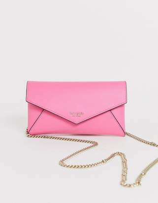 Kate Spade Sylvia leather chain clutch bag in pink