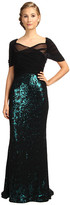 Badgley Mischka Stretch Mesh Over Sequin Gown