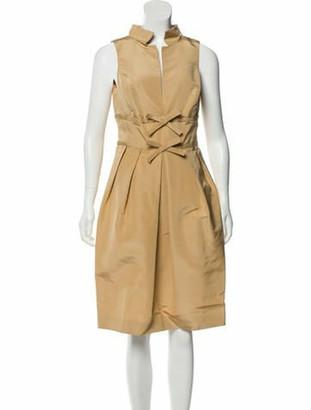 Oscar de la Renta Silk Sleeveless Dress Tan