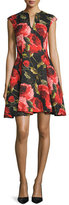 Naeem Khan Cap-Sleeve Floral-Print Cocktail Dress, Black/Red