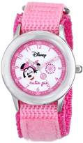 Disney Kids' W000362 Minnie Mouse Stainless Steel Time Teacher Pink Nylon Strap Watch