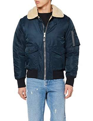 Schott NYC Schott Men's Ohara Jacket, Blue Navy/Beige, Small